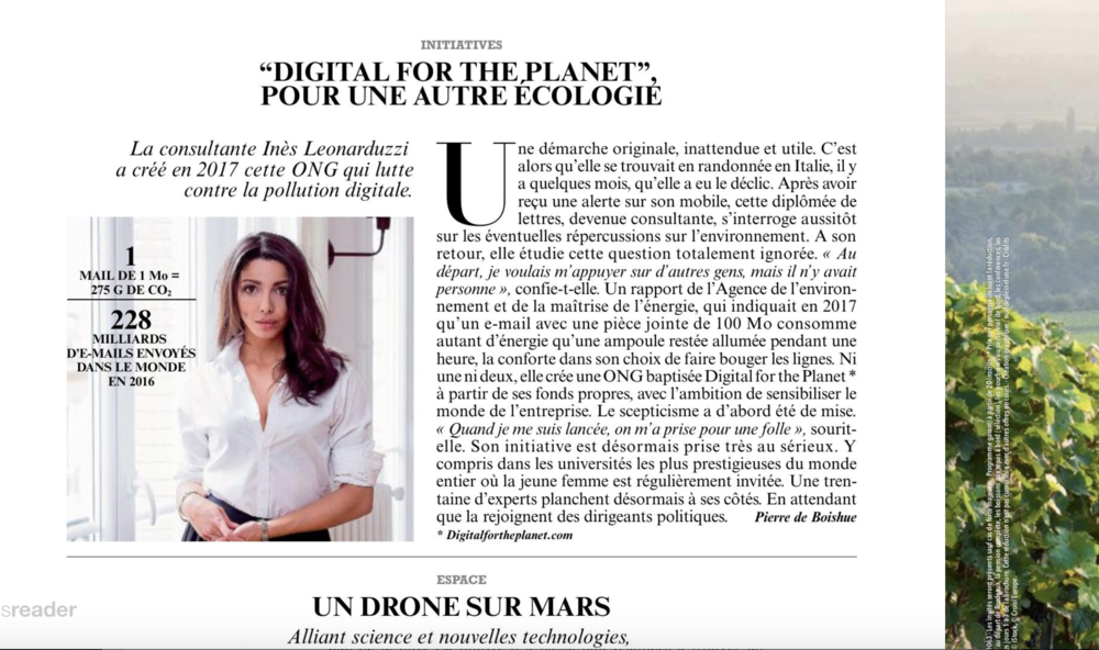Article DIGITAL FOR THE PLANET in Figaro Magazine. Click on the picture to read it. (mai 2018)