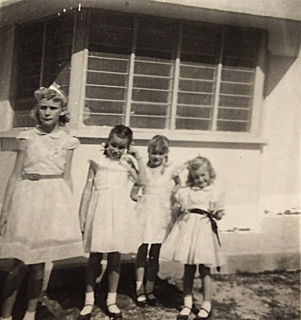 Deedee's 8th Birthday Party 1957 - the four Newton sisters - Kirkuk, Iraq