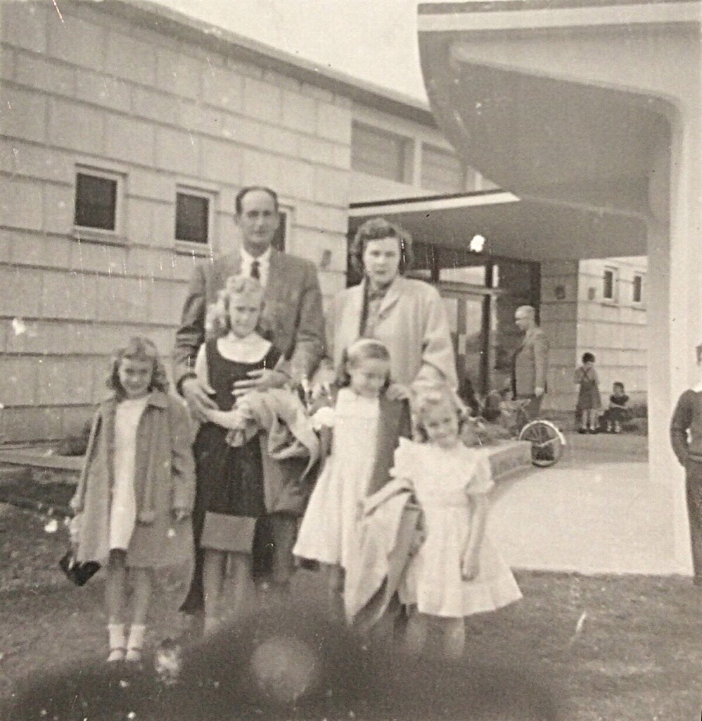 The Newton Family outside of the club - 1957 - Kirkuk, Iraq
