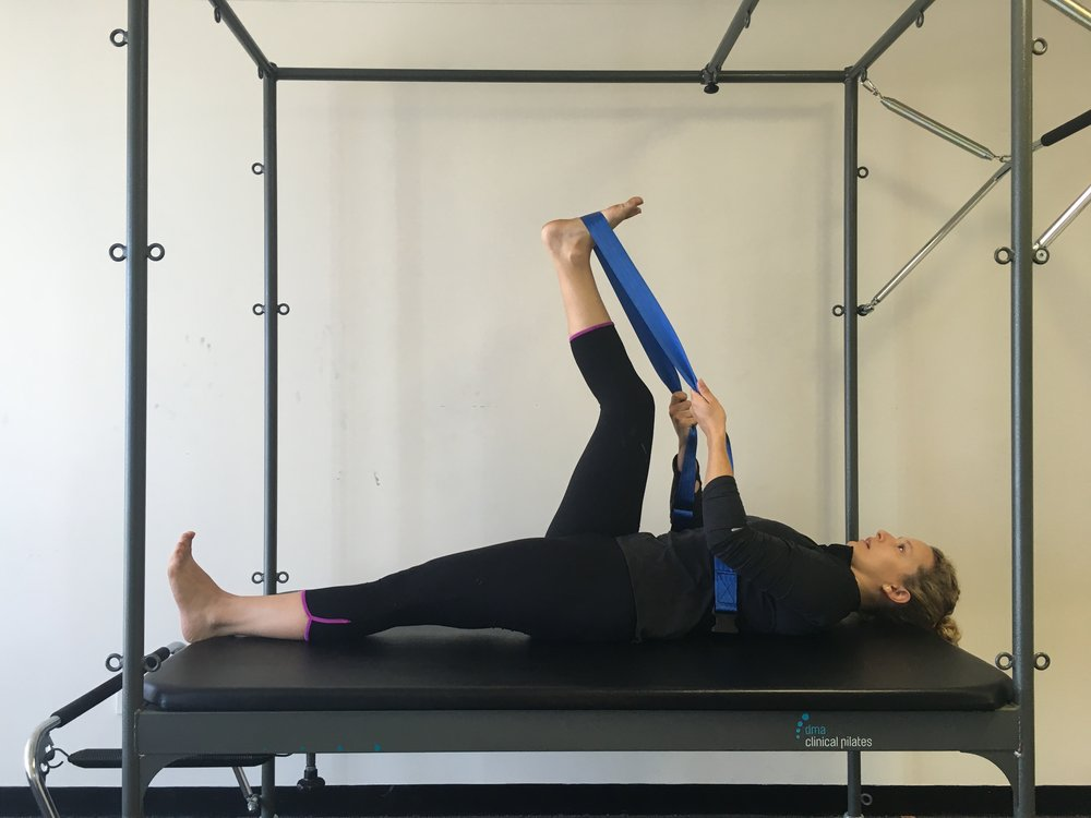 Hamstring stretch with band