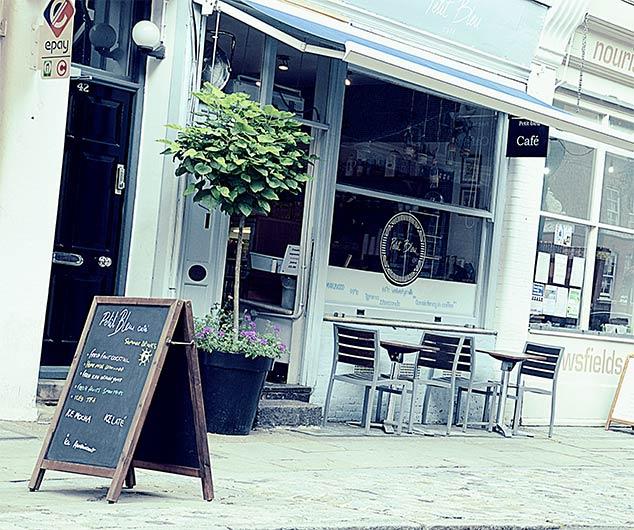 Petit Bleu Café - http://www.petitbleu.co.uk/Download their catering menu here.