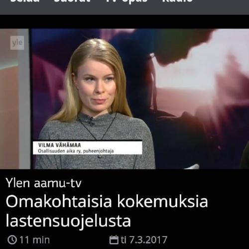 YLE:n aamu-tv:ssä  haastateltavana 7.3.2017