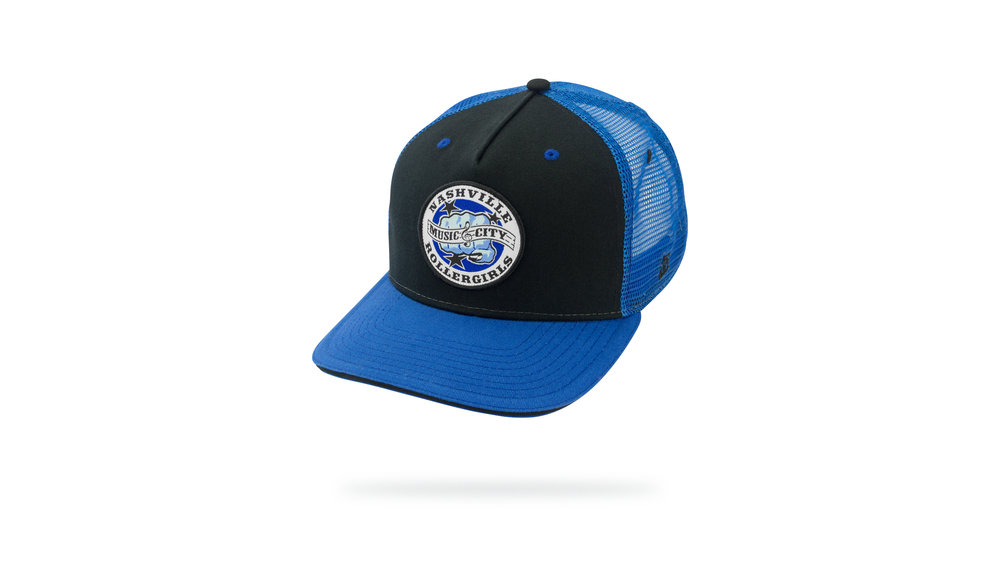 Featured Hat: STYLE LII - 5-Panel Trucker Cap w/ Versa Visor and Woven Label Patch Applique