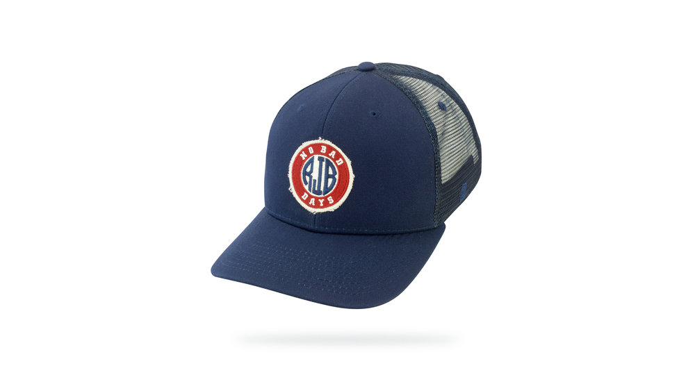 Featured Hat: Style IV - Vintage Trucker w/ embroidery & frayed cotton twill applique