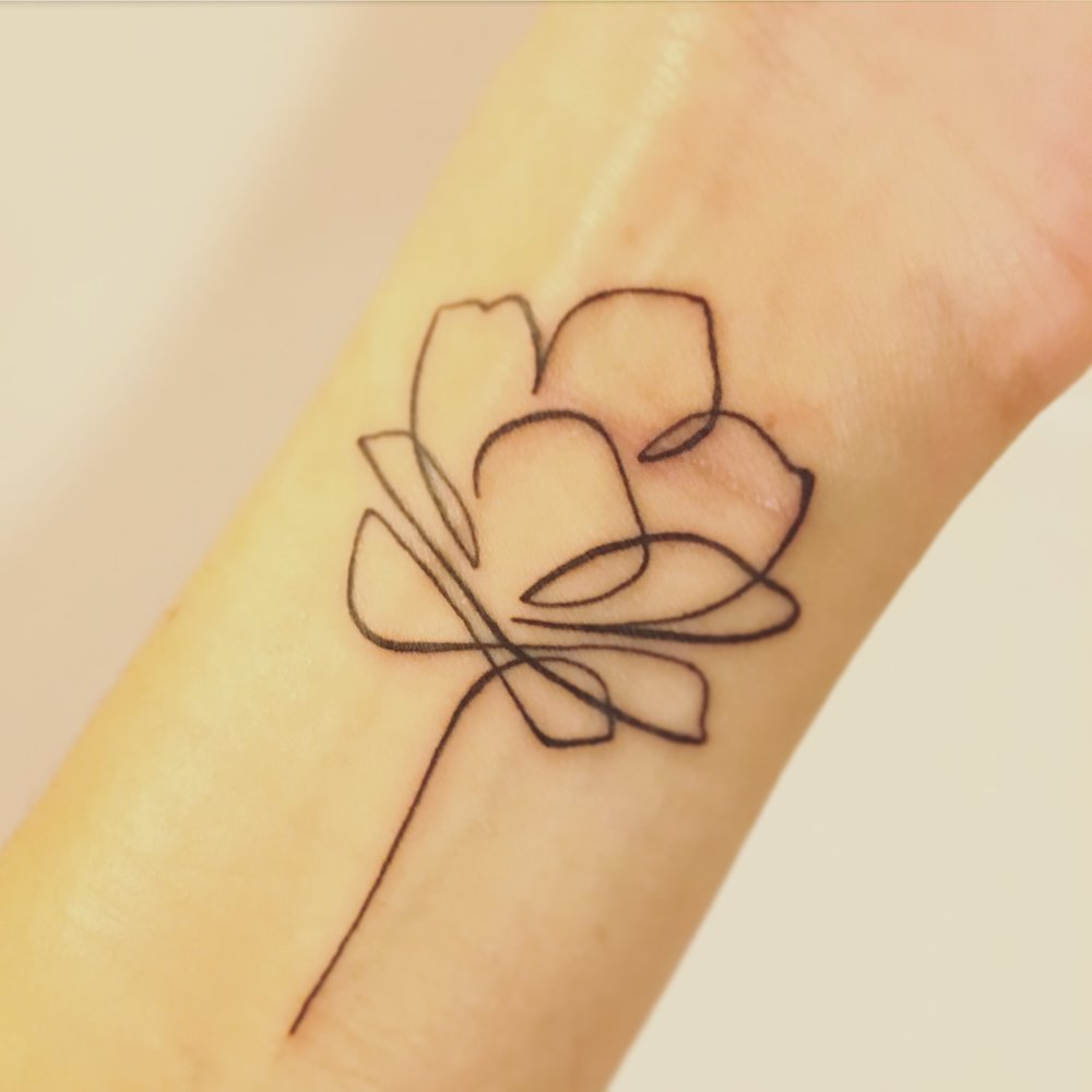 Mine or his hunt4happy this one single line lotus flower tattoo represents a small part of me taking back izmirmasajfo