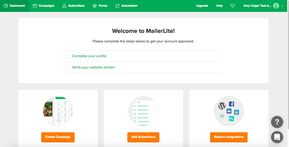 MailerLite Welcome Screen - this will be populated once you have sent some emails and added subscribers.