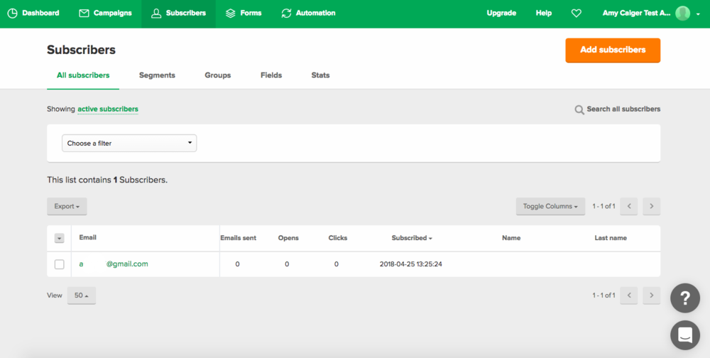 MailerLite Subscribers Page - you can see the groups, segments etc easily in the subscriber navigation