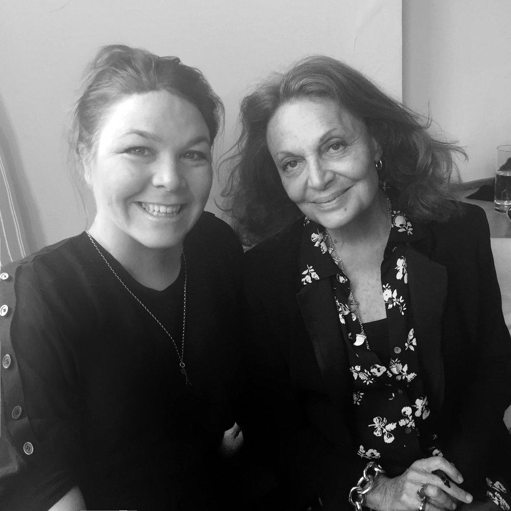 Jacqueline discussing luxury-goods production with Diane von Fürstenberg