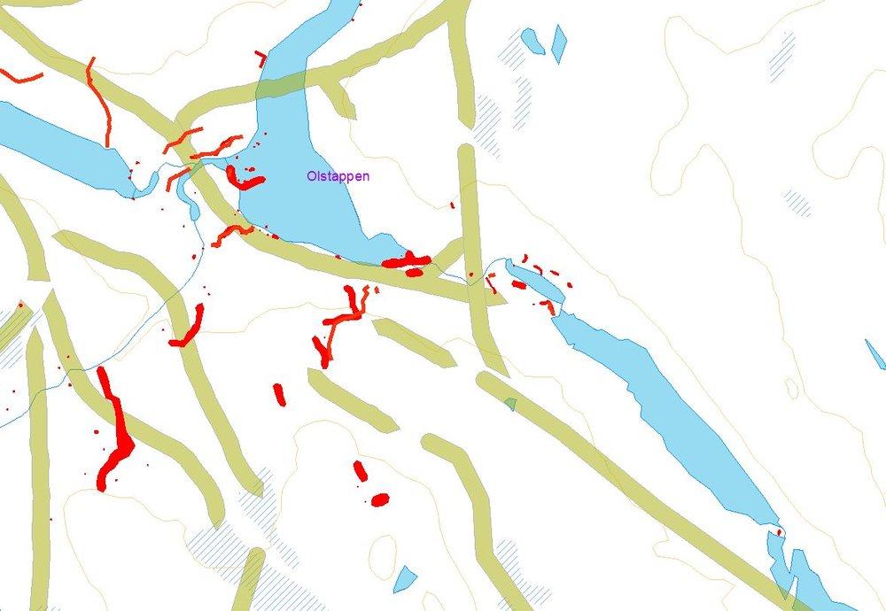 De grønne linjene angir trekkrutene til elgen. De røde angir fangstsystemer. Kilde: Fylkesarkeologene, Oppland Fylkeskommune.