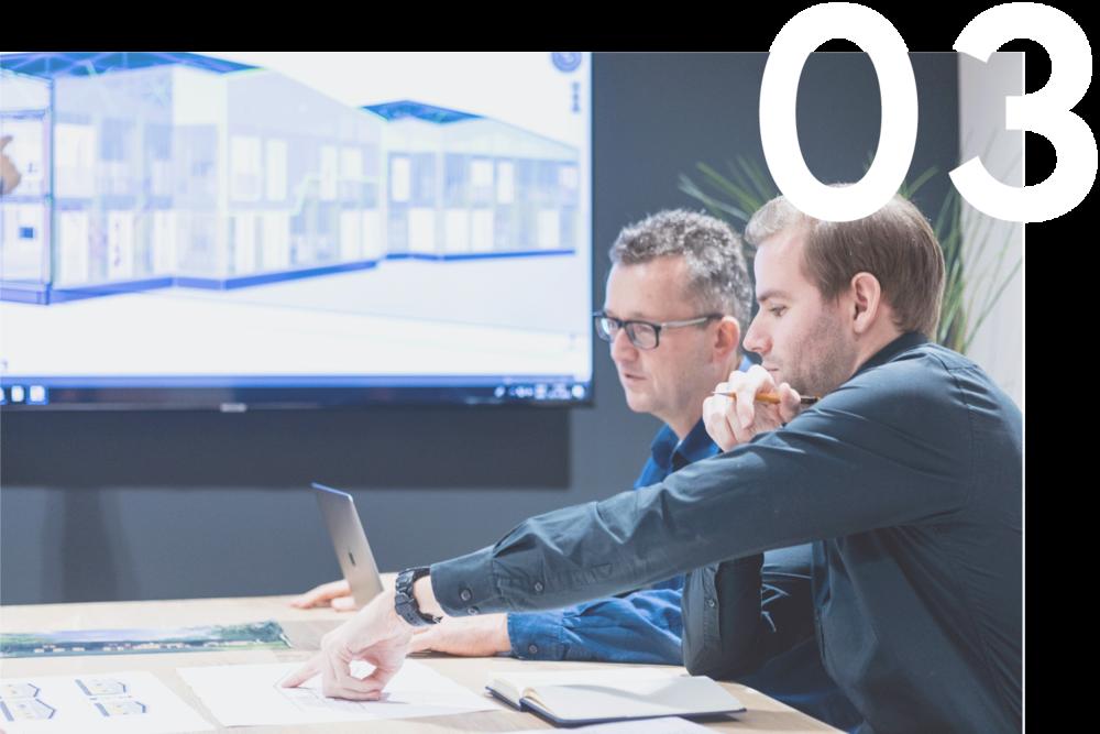ONTWERP EN BEHEER - Het ontwerpteam van het VOXS Bouwsysteem denkt graag met u mee om al vroegtijdig haalbaarheidsstudies en ontwerpen te maken om uw project te optimaliseren. Door onze samenwerking met vaste co-makers kunnen wij onze uitvoeringskennis al vroegtijdig in het ontwerpproces inbrengen, terwijl het project zich in de loop van de tijd ontwikkelt door het hele ontwerpproces. Door de deliverables (de producten, diensten en resultaten die in een project geproduceerd worden) van het project te beheren in overeenstemming met de overeengekomen tijds-, budget- en scopevoorwaarden, minimaliseren we variaties en verstoring van het project.