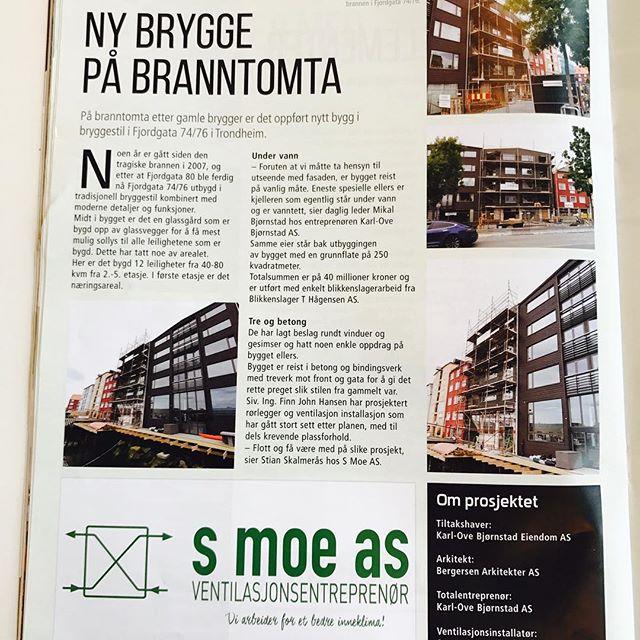 Gøy med omtale av prosjektet Fjordgata 76 i fagbladet Blikkenslageren 😁👏🏼
