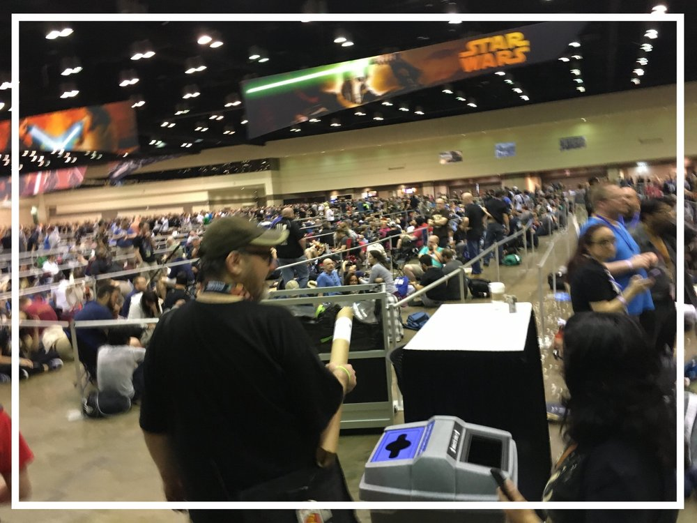 Line to get into the 11:00am 40 Years of Star Wars panel discussions on the first day. This is known as Queue Hall and 10,000 people holding panel bracelets were allowed to stay inside Queue Hall on Wednesday Night for Thursday's presentations.