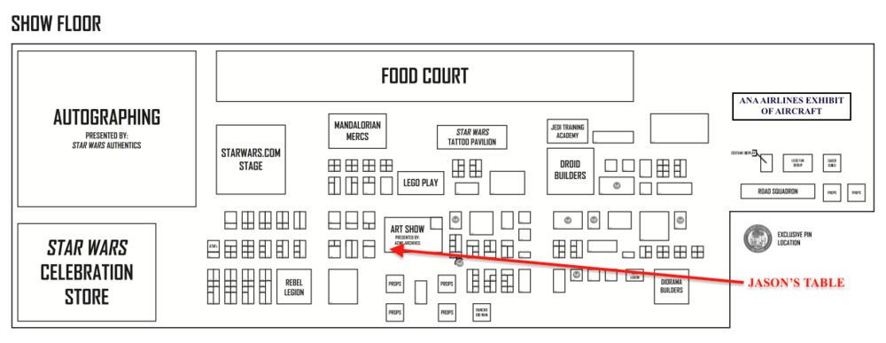 STAR WARS CELEBRATION 2017 Exhibitor's Floor. Jason's table location is marked by the red arrow.