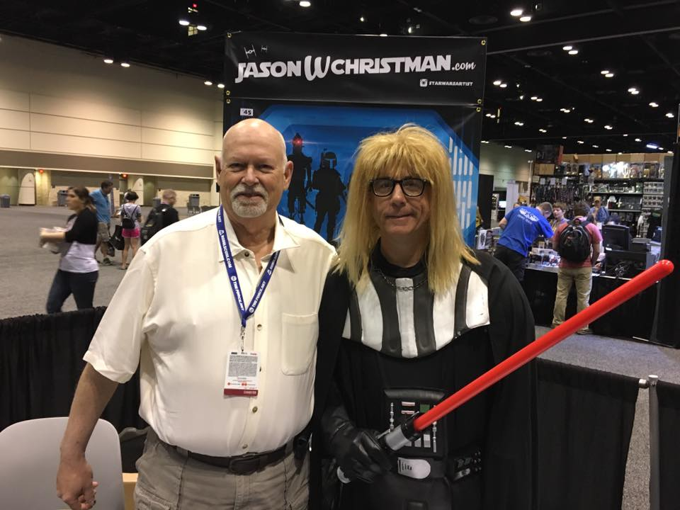 Hangin' with the evil Jedi: Fanakin Skywalker aka: Garth Vader. He's a Dana Carvey clone.