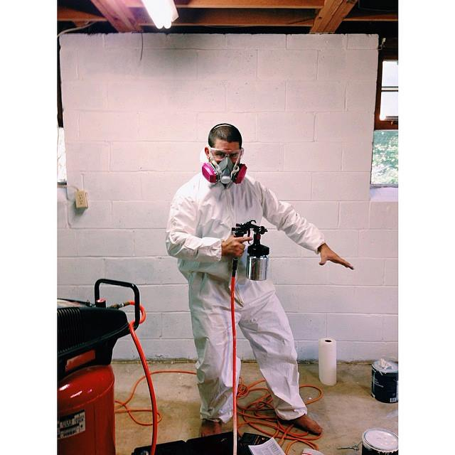 Iphone picture of when we were waterproofing the cinderblock walls.