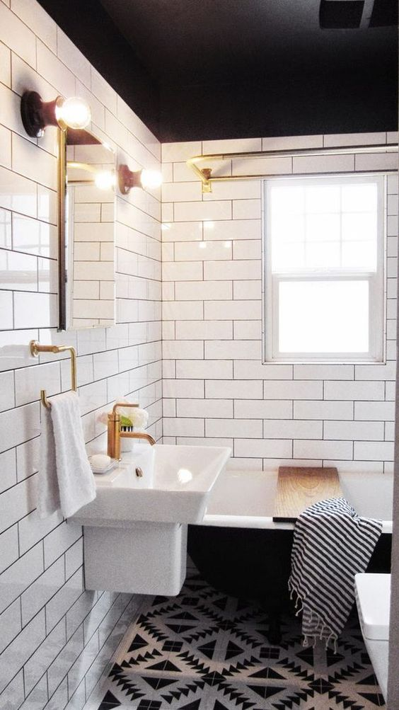 PAINTED BATHROOM CEILINGS this minimal house blog
