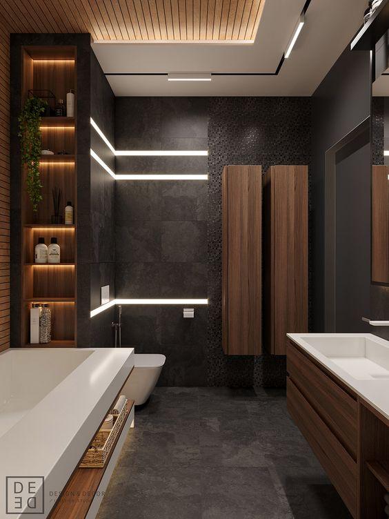 SLAT BATHROOM CEILING THIS MINIMAL HOUSE