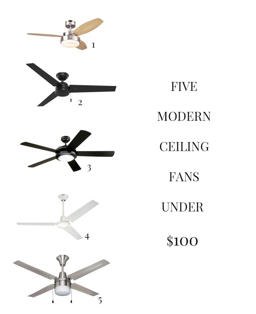 FIVE MODERN CEILING FANS UNDER $100