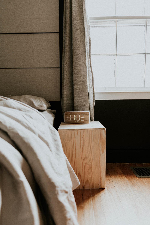 DIY modern + minimal storage nightstand