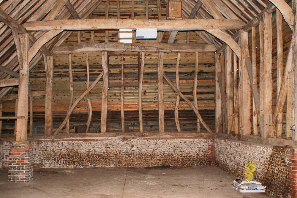 Interior of main barn before development