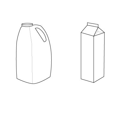 While both the jug and the carton are fully capable of holding and dispensing a product, the jug has better perceived affordances for where to grab the packaging and where to open to better facilitate pouring the product.