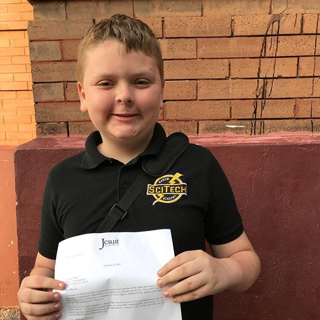 Congratulations to 7th grader, Dawson, for getting accepted to Jesuit for next year! Top high schools, meet SciTech Scholars. #livingthemission #scitech #chargers #jesuit #bluejays #tophighschools #nolaed #renew