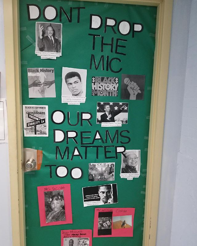 Our doors are decked out for Black History Month. #blackhistory #blackexcellence #impact #mlkhadadream #blackherstory #scitech #sta #chargers #renew #blackhistorymonth