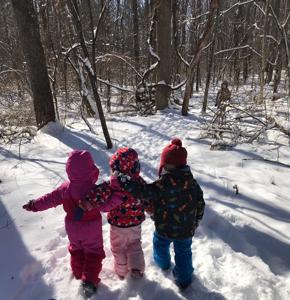 Preschool and kindergarten classes at the Forest Kindergarten campus spend most of the day outside year-round. Always changing, nature provides new problems to solve and situations to explore depending on the season and weather.
