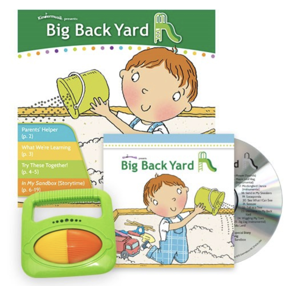 "Big Back Yard is the unit for the Foundations/Level 1 unit ages birth to 24 months.  ""Parks, playgrounds and yards of all shapes and sizes were made for play, play, play! Come hop, run, walk and climb with us as we refine our gross motor skills on a pretend adventure in our Big Back Yard"
