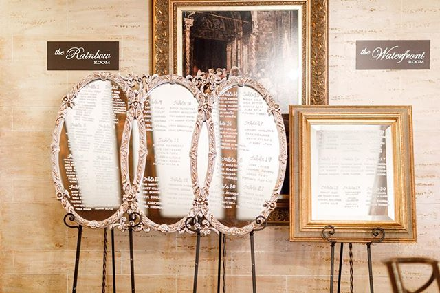 Mirror seating charts are my bread and butter but they are a BEAR to photograph with an iPhone. All the praise hands for the professional photos and generous couples who share them with me 🙌🏽! Loving all these gorgeous images from Michael & Melissa's beautiful day at @hotelbaker. Love these specific mirrors? They are available for rent in @rustiqueswan's packages! 📷: @adamsphotography.co