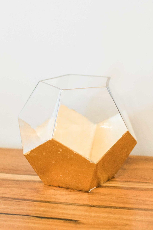 Half Gold Half Glass Geometric Vase
