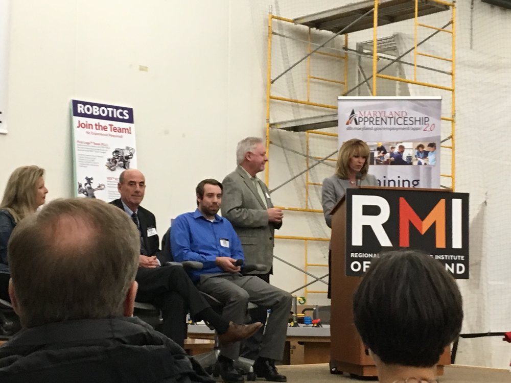 KELLY M. SCHULZ, Secretary of Labor, Licensing, & Regulation addresses attendees at Regional Manufacturing Institute of Maryland event.