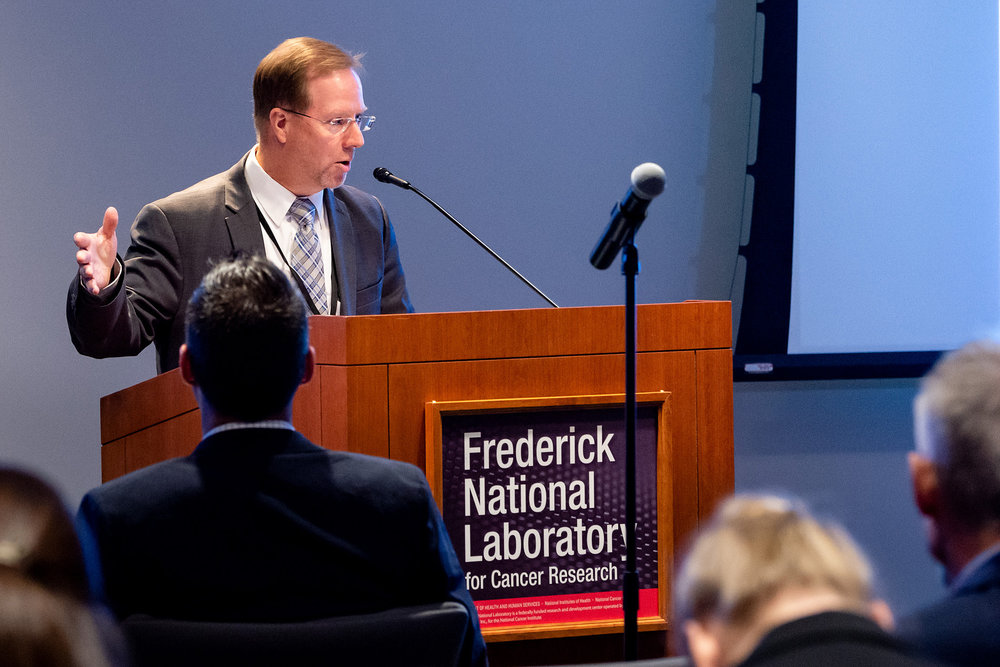 Richard Griffin, Director, Department of Economic Development, City of Frederick served as a panel moderator for a technology session. Photo courtesy Frederick National Laboratory for Cancer Research. (Richard Frederickson, photographer)