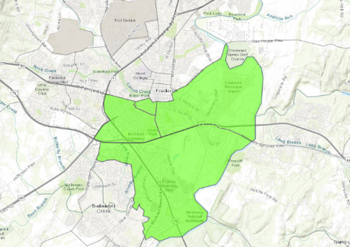 """Areas of Frederick designated an """"Opportunity Zone"""""""