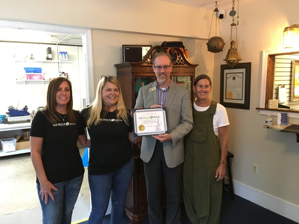 Mayor O'Connor and Alderman Kelly Russell welcome Whipsmart Marketing to Frederick