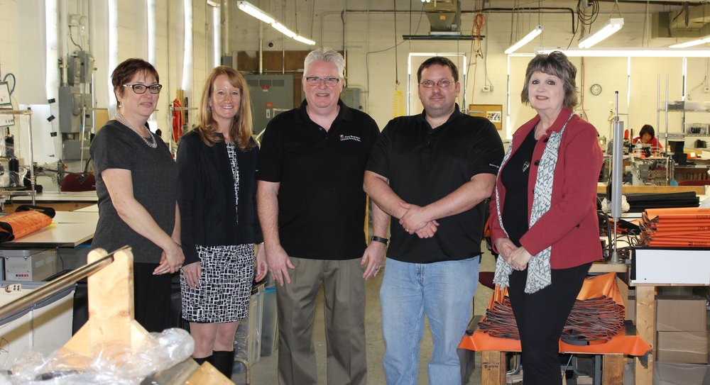 Tamar, Jodie Bollinger with Frederick County Office of Economic Development, Joe Bleach and Lou DiStefano with First Response Sewing, Mary Ford-Naill with City Department of Economic Development