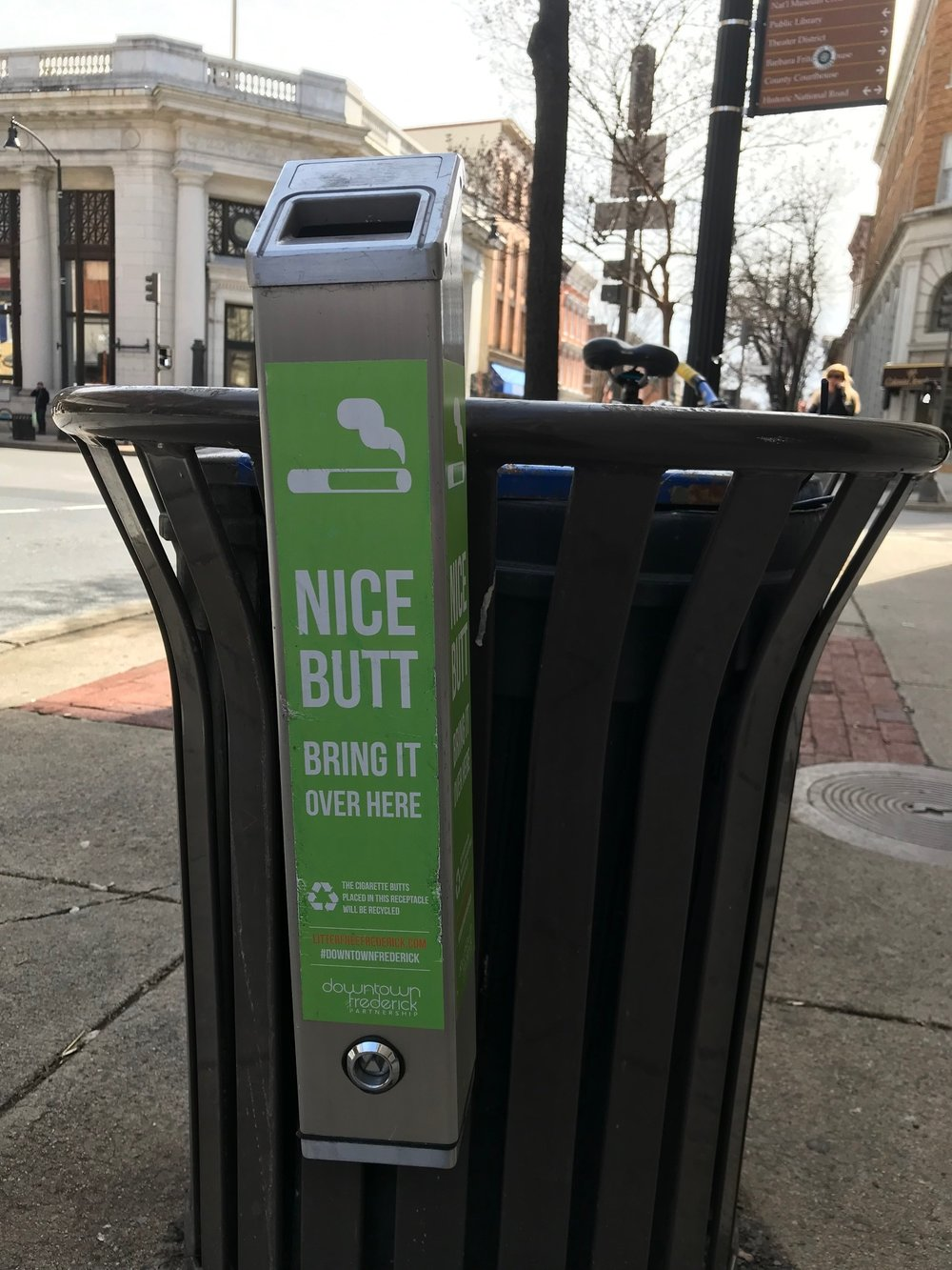 Partnerships between The City and Downtown Frederick Partnership make initiatives like the Terracycle cigarette butt recycling containers a reality.