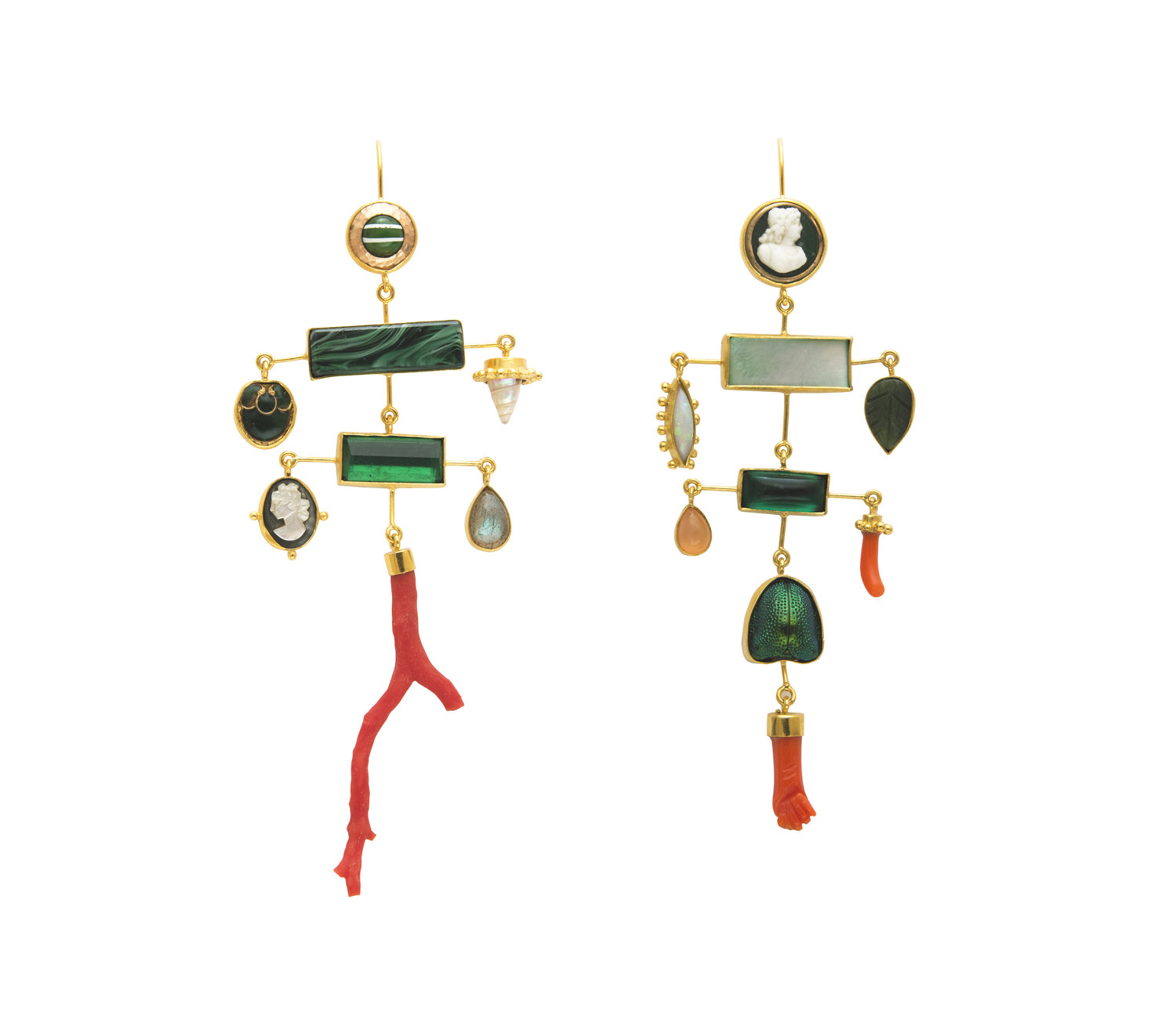 99f911e43 EARRINGS: MULTI LAYER BALANCE WITH CORAL DROPS