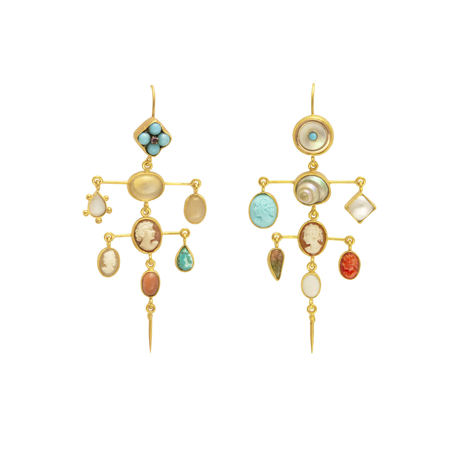 073269634 EARRINGS: LAYERED WITH VICTORIAN DROP