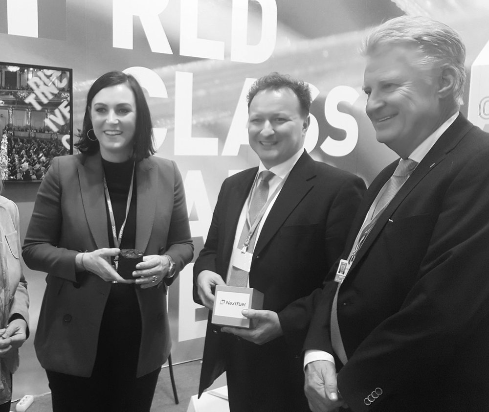 Elisabeth Köstinger, Austrian minister for sustainability and tourism, and president of the European Environment Council, learns more about NextFuel at COP24.