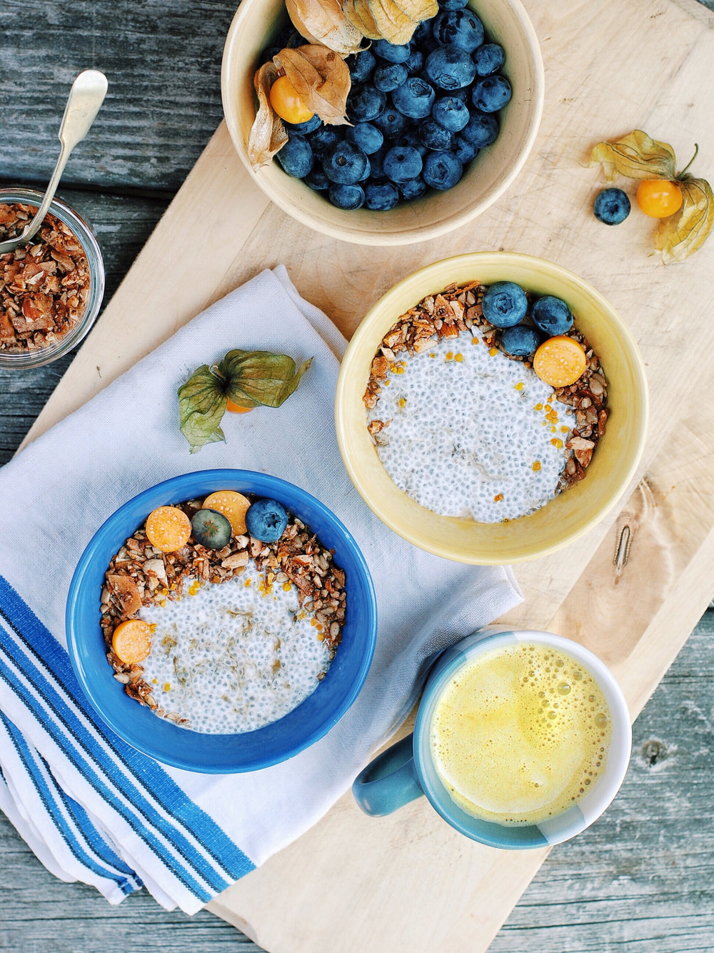 Coconut Chia Pudding with Super Crunchy Grain-Free Granola - Foody First - A super easy breakfast, snack, or lunch! Grain-free, filled with healthy fats and lots of crunch. Just so happens to be paleo, dairy free, gluten free, vegan, refined sugar-free and DELICIOUS! #paleo #grainfree #granola #easybreakfast #vegan #chiapudding #crunchygranola #healthyfats #dairyfree #glutenfree #healthybreakfast #healthysnack