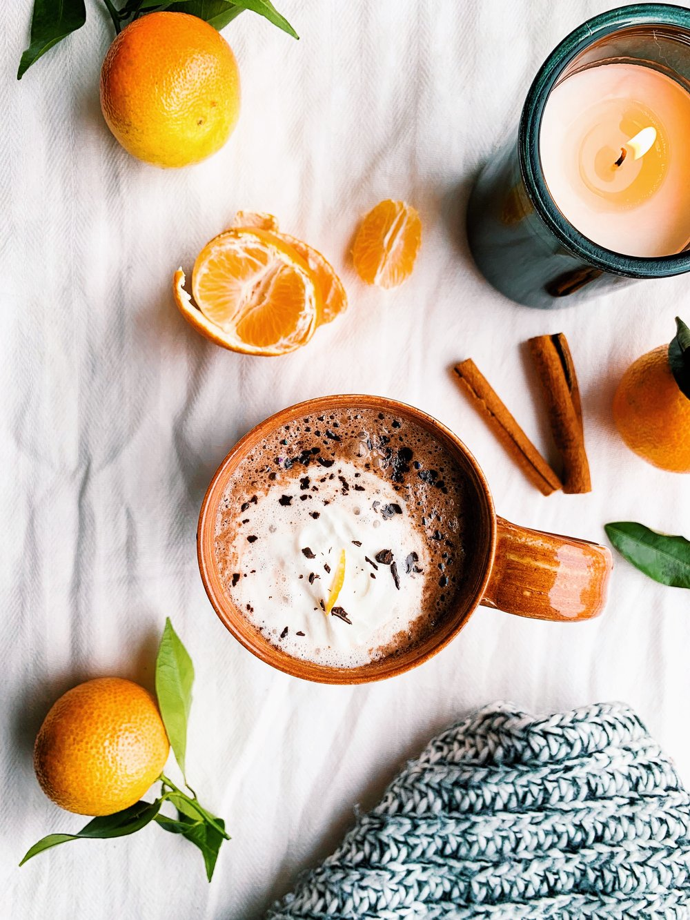 healthy orange hot chocolate, vegan, dairy free, sugar free - foody first