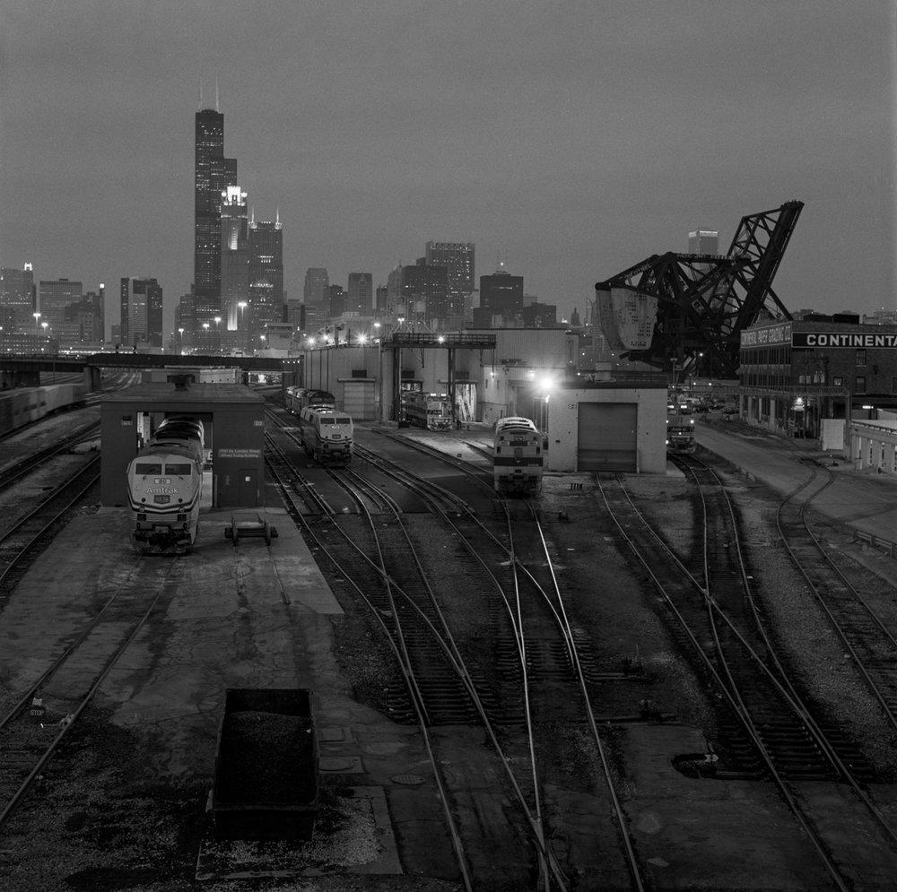 Amtrak Yard from Roosevelt Road  ©2000