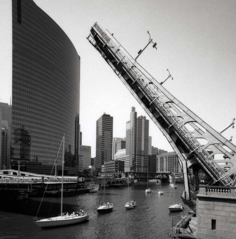 Franklin Street Bridges with Sailboats Chicago River