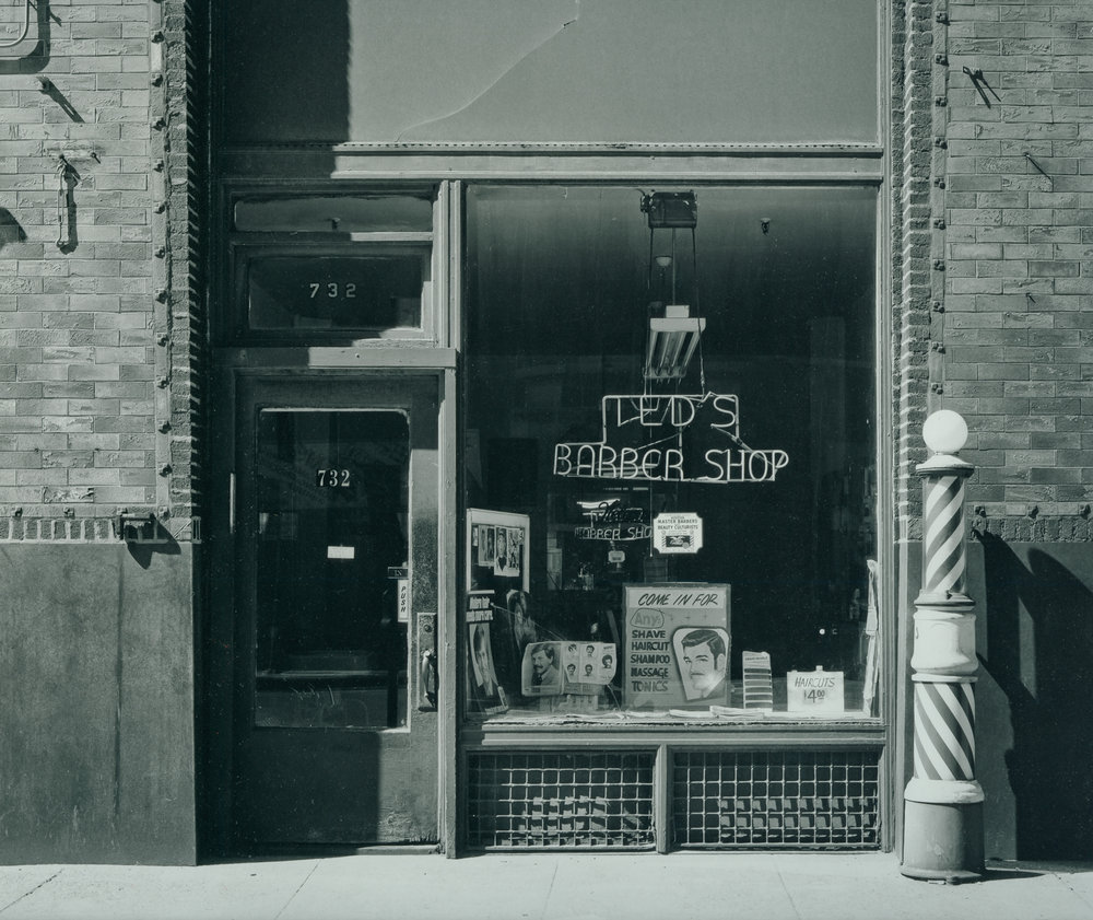 Ted's Barber Shop New Franklin Building ©1979