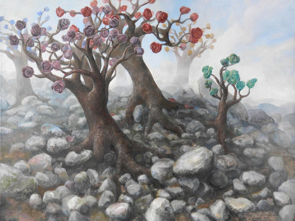 Three Trees Oil on Canvas 30 x 40""
