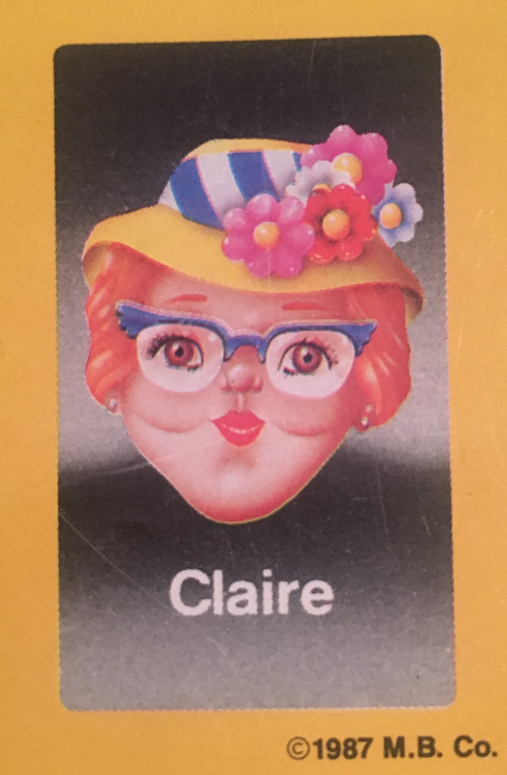 - Claire always stayed humble despite the attention lavished upon her and the other Guess Who?® faces. After the early years in the Guess Who?® spotlight, she went into business selling her distinctive yellow flowered hats. They were more popular than even she could have predicted, and after investing her money wisely, she is officially the wealthiest Guess Who?® personality. Rumor has it she subsequently built a room full of gold, where she spends most of her days lounging in the soft metallic stacks.