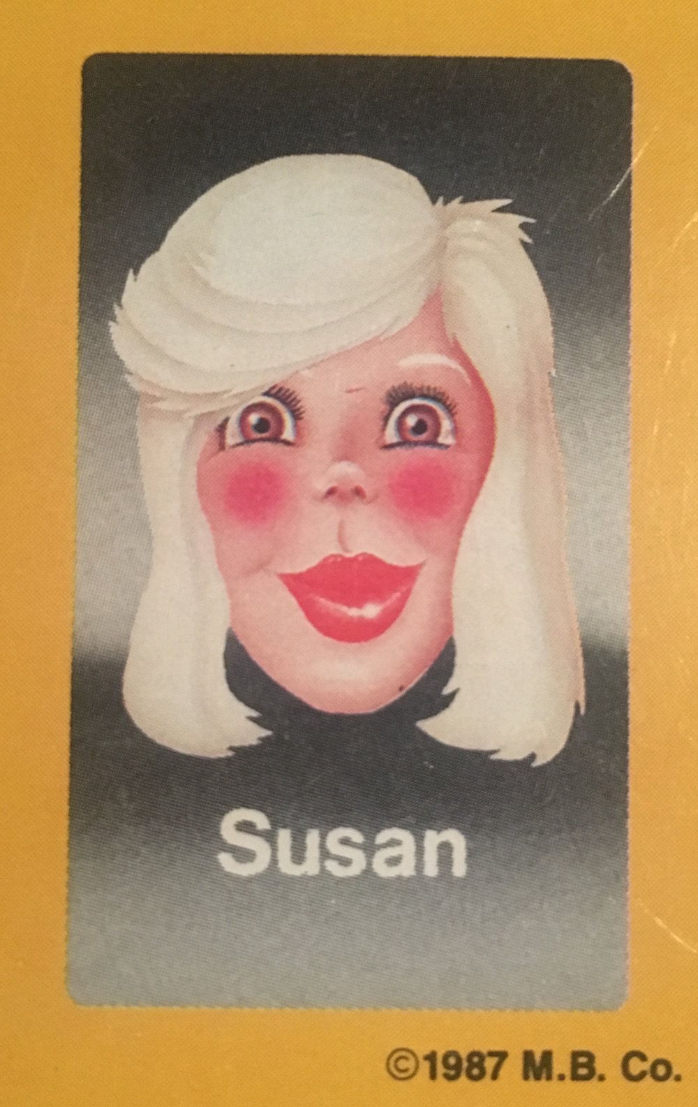 - Unbeknownst to the producers of the original Guess Who?®, Susan began life as a Sherman, before transitioning to a woman in her mid-20s. The 1970s were a less accepting time for transgendered individuals, so Susan kept it quiet. The secret eventually leaked to the Guess Who?® public in the '80s, and thankfully, the news was met with widespread warmth and understanding. The only backlash was with regards to how the information would change the actual Guess Who?® gameplay; education began in ernest, playing no small part in beginning to educate the American public on how to properly inquire about gender and identity.