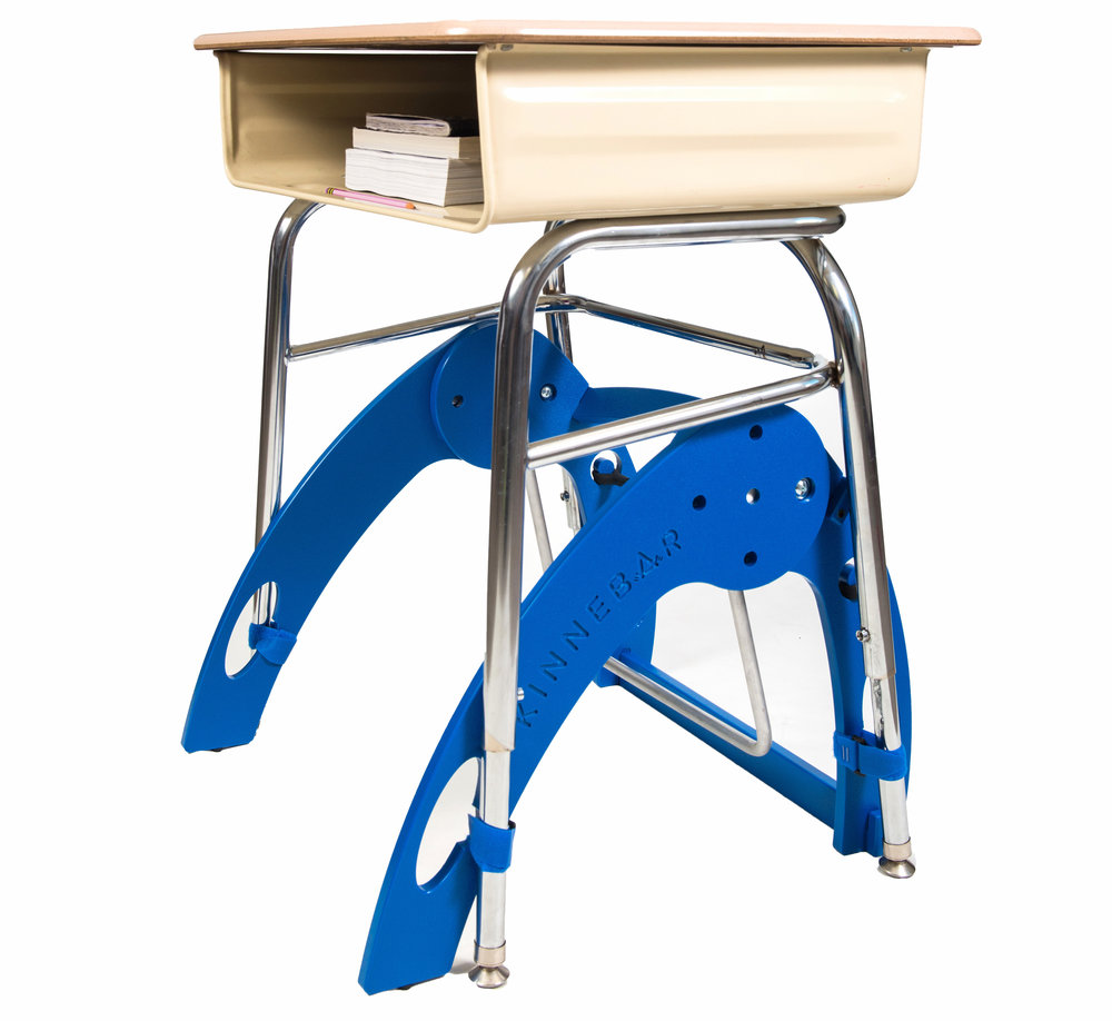 KINNEBAR™ 100 - This model is best at school. You can use either hook and loop straps or suction cups to keep it in place. It has a shorter leg base and takes up less space under a school table.