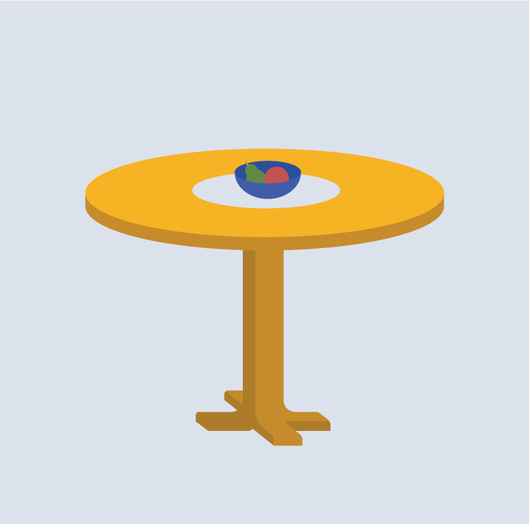 A circle or oval table with a center pedestal - at home